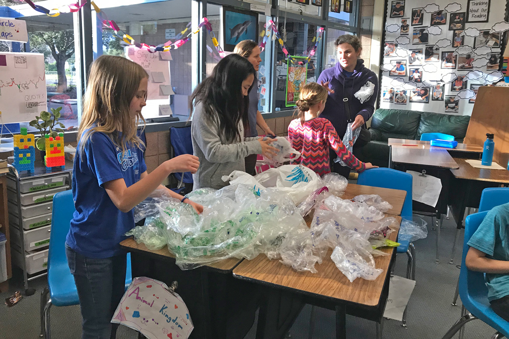 Elementary school 'Water Guardians' learn about recycling and protecting the environment.