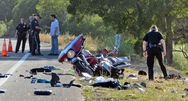<p>The wreckage of a motorcycle is strewn along the side of Old Coast Highway near Montecito on Wednesday evening after an accident that severely injured a couple on the bike. The driver of an SUV that struck them head-on was arrested on felony DUI charges, according to Santa Barbara police.</p>