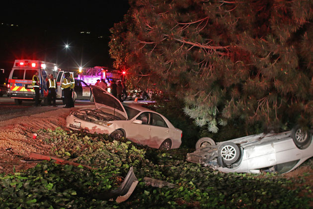 Northbound Highway 101 in Santa Barbara was shut down for a time by a 5-vehicle accident that included two cars that left the roadway. Remarkably, no one was hurt in the crash.