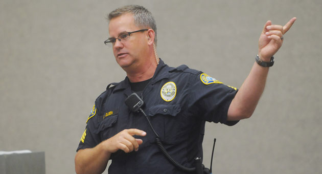 Sgt. Ed Olsen speaks to the Santa Barbara Downtown Organization on Thursday about what the Police Department is doing to address homeless-related issues in the area.