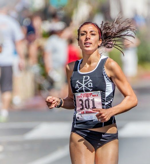 Marina Vorderbruegge finished first in the women' division of the 15th Platinum Performance State Street Mile.