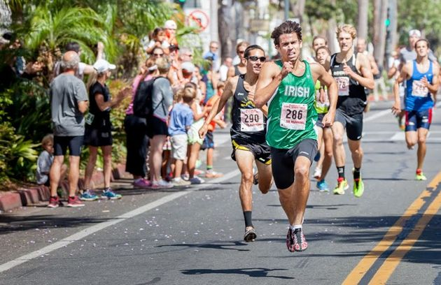 Gabriel Hilbert races to first place in the men's division of Sunday's 15th Platinum Performance State Street Mile.