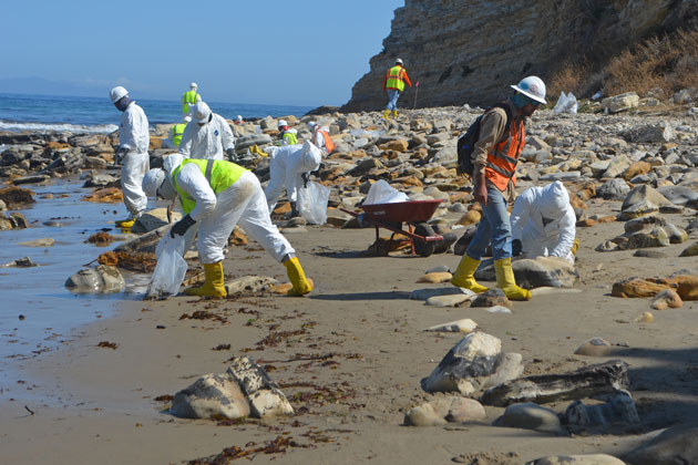 Refugio State Beach is now a staging area for oil spill response efforts. Crews have been on this beach and nearby beaches to collect oiled sand and vegetation, and to scrape oil off rocks and boulders, as seen on Monday.