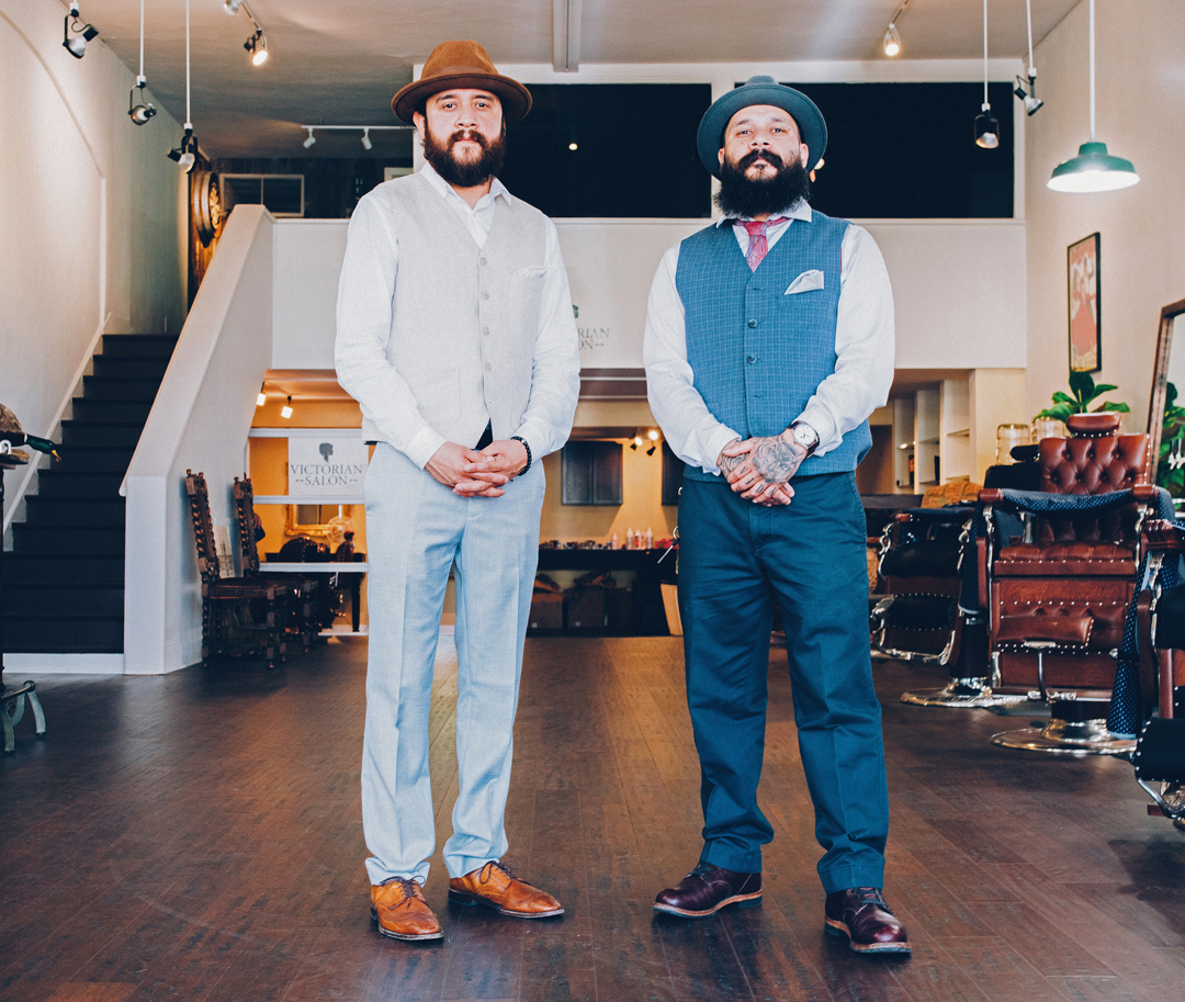 Jorge, left, and Ito Salgado head up The Barber Shop's floor in downtown Santa Barbara.