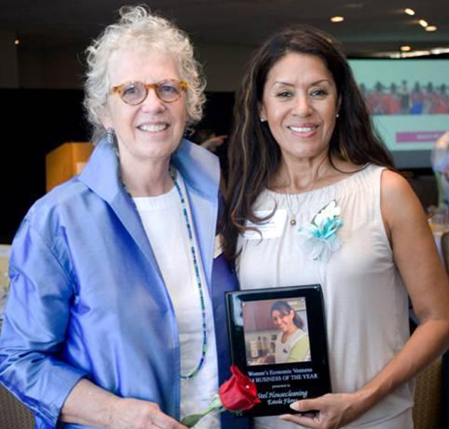 <p>Marsha Bailey, left, founder and CEO of Women&#8217;s Economic Ventures, with WEV Business of the Year award recipient Estela Flores of Stel's Housecleaning, during WEV&#8217;s Empowerment Is Priceless breakfast.</p>