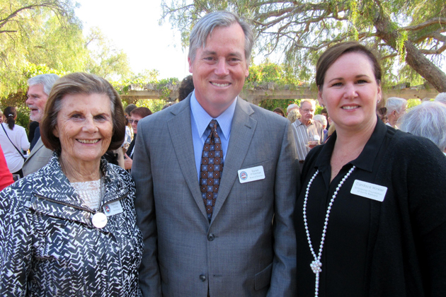 Scholarship Foundation of Santa Barbara past board president Nancy Failing, left, board chairman Barrett O'Gorman and Executive Director Candance Winkler at one of two ceremonies held to celebrate the foundation's record $8.74 million in scholarships awarded this year to more than 3,000 Santa Barbara County students.