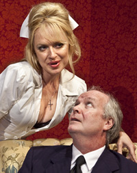 Nurse Fay (Heather Prete) has her own plans for the naive widower (David McCann) in the Ensemble Theatre Company's Loot