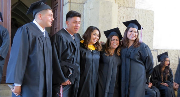 <p>Soon-to-be graduates pose for pictures before Wednesday evening&#8217;s commencement ceremony for La Cuesta Continuation and Alta Vista Alternative high schools.</p>