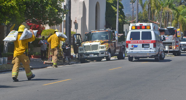 <p>Part of Mission Street in Santa Barbara was closed down Thursday afternoon after a tow truck crashed into a park car, resulting in a diesel fuel leak.</p>