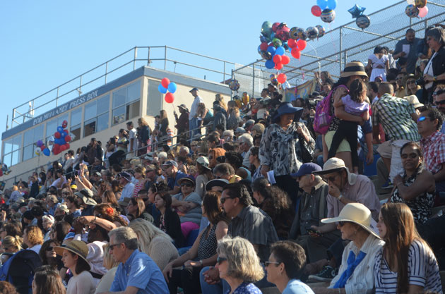 The bleachers are packed at San Marcos High School for graduation.