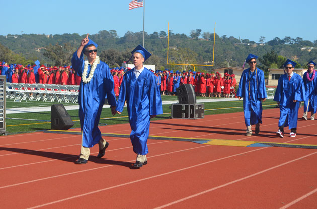 Seniors march into the graduation ceremony at San Marcos High School.