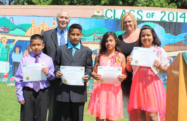 <p>Paul Didier, president and CEO of United Way of Santa Barbara County, and Franklin Elementary School Principal Casie Killgore stand with Literacy Achievement Award recipients and sixth-grade students, from left, Alberto Lagunas, Cesar Gregorio, Esperanza Gonzales and Leslie Loeza.</p>