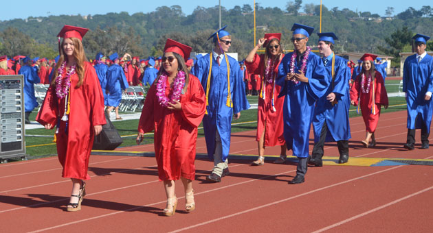 <p>Seniors march into Warkentin Stadium at San Marcos High School on Thursday for their graduation ceremony.</p>