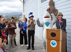 Rep. Lois Capps, D-Santa Barbara, speaks at World Oceans Day events in 2011 at the Ty Warner Sea Center.