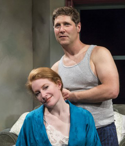 Dee Ann Newkirk stars as Frankie and Rick Gifford as Johnny in the Ensemble Theatre production of Frankie and Johnny in the Clair de Lune. (David Bazemore photo)
