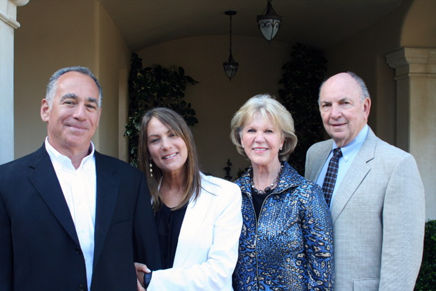 Dennis and Stephanie Baker and Pete and Gerd Jordano attend Hospice of Santa Barbara's Heart of Hospice launch reception at a home in Montecito.