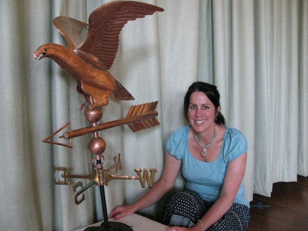 Harding University Partnership School Principal Sally Kingston, who left her post in May to join the Carpinteria Unified School District, has donated a hawk weathervane to the school as a parting gift. The school's previous hawk, in place for decades, was stolen in June 2010 and never recovered.