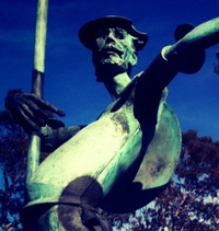 Statue outside Sotheby's at Micheltorena and State streets in Santa Barbara.