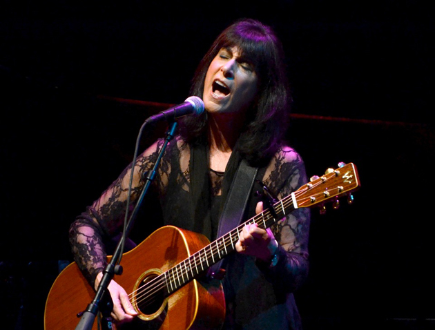 <p>Singer Karla Bonoff belts out one of her biggest hits during Saturday night&#8217;s concert with Jimmy Webb at the Lobero Theatre.</p>