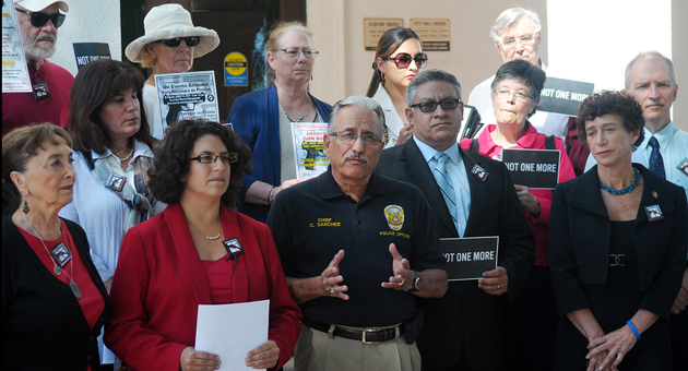 <p>Santa Barbara Police Chief Cam Sanchez speaks on the steps of City Hall on Monday about a gun buyback event slated for this weekend.</p>