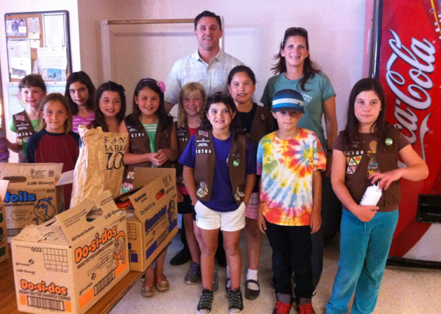 Members of Girl Scout Troop No. 50786 deliver cookies to the Santa Barbara Rescue Mission last Thursday. The girls used all of their donations and tips this year to purchase the cookies. (Girl Scout Troop No. 50786 photo)