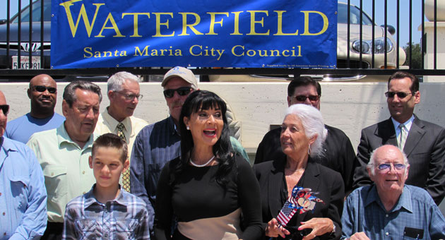 <p>Surrounded by supporters, Etta Waterfield announced her candidacy for Santa Maria City Council on Tuesday.</p>