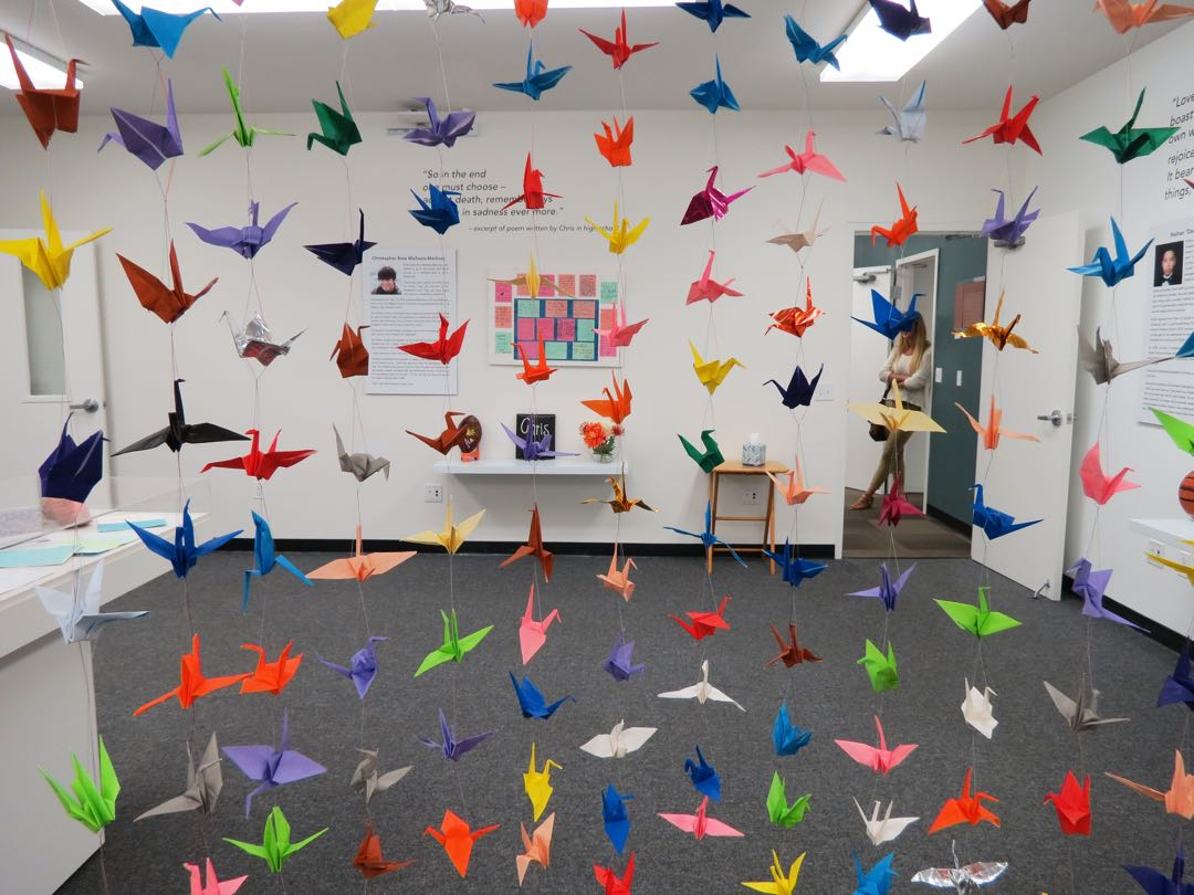 "Hundreds of origami cranes constructed after the Isla Vista massacre a year ago are on display at the ""We Remember Them"" exhibit at UCSB."