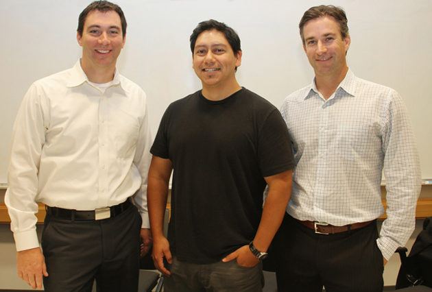 <p>UCSB Ph.D. alums Brent Gaylord, left, Miguel de Los Rios and Patrick Johnson.</p>
