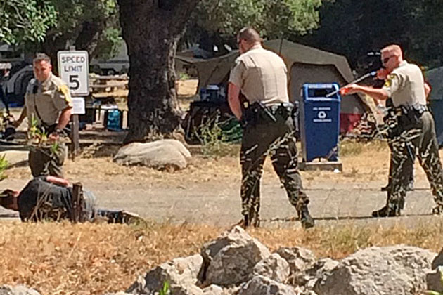 Santa Barbara County sheriff's deputies arrest Ilya Yegudkin, 25, on Saturday after he allegedly went on a rampage at the Paradise Campground in the Santa Ynez River Recreation Area.