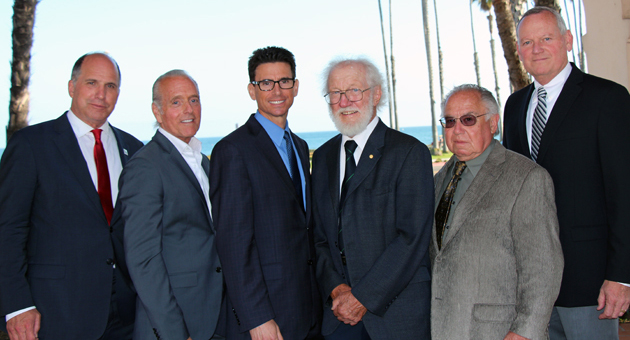 <p>From left, Company of the Year representatives Ron Blitzer and Rob Richman of Be Green Packaging, Executive of the Year Craig Zimmerman of The Towbes Group, Pioneer Award honoree Dr. Herbert Kroemer, Entrepreneur of the Year Victor Schaff of S&amp;S Seeds and Rich Phillips of CMC Rescue Inc., Excellence in Service honoree, at Thursday night&#8217;s South Coast Business &amp; Technology Awards.</p>