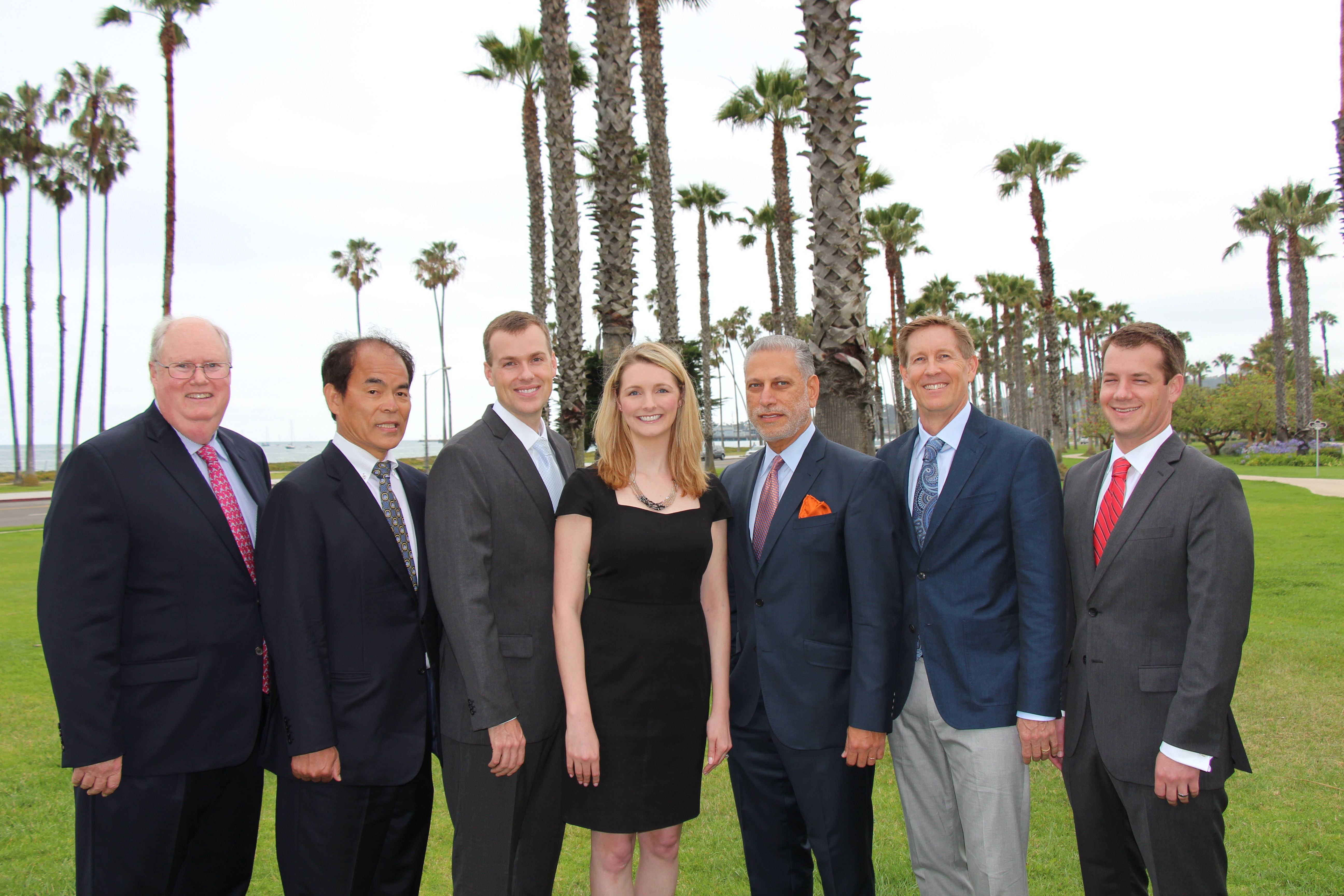 From left, Excellence in Service award representative Rich Block, CEO of the Santa Barbara Zoo; Pioneer Award winner Dr. Shuji Nakamura, a UCSB professor; Company of the Year Award recipients Brenton Taylor and Alison Bauerlin of Inogen; Executive of the Year recipient Hani Zeini, president and CEO of Sientra; and Entrepreneur of the Year Award honorees Ken Babcock and Byron Myers of Affinity Biosensors.