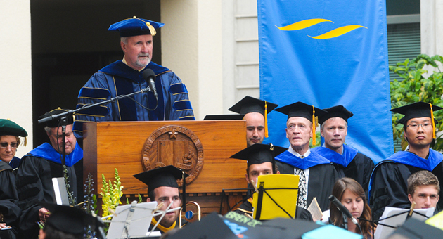 <p>Dean Steven Gaines speaks during Friday&#8217;s commencement ceremony for UCSB&#8217;s Bren School of Environmental Science &amp; Management.</p>