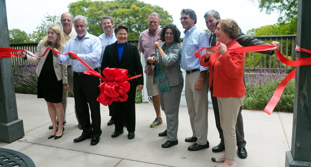 <p>Santa Barbara Mayor Helene Schneider, center, joins the Housing Authority of the City of Santa Barbara on Friday in cutting the ribbon on 167 units of senior housing that was rehabilitated at Villa Santa Fe on the Mesa.</p>