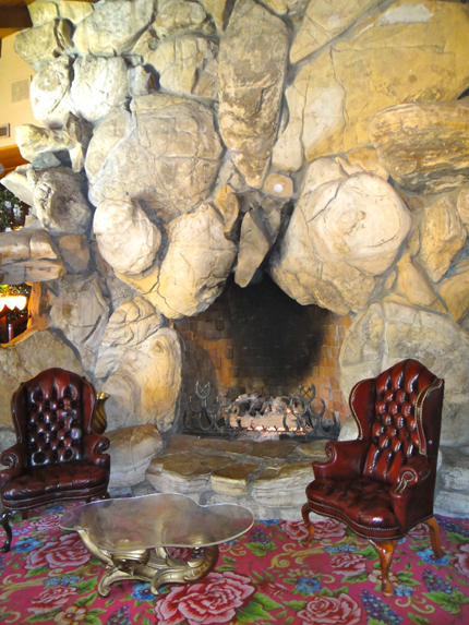 The lobby fireplace.