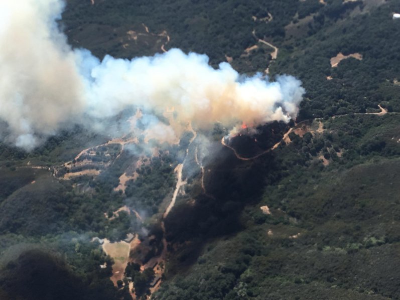 A aerial view of the Sherpa Fire burning Wednesday night in Refugio Canyon near Gaviota.