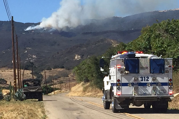 Smoke from the Sherpa Fire was visible from miles away on the Gaviota Coast Wednesday.