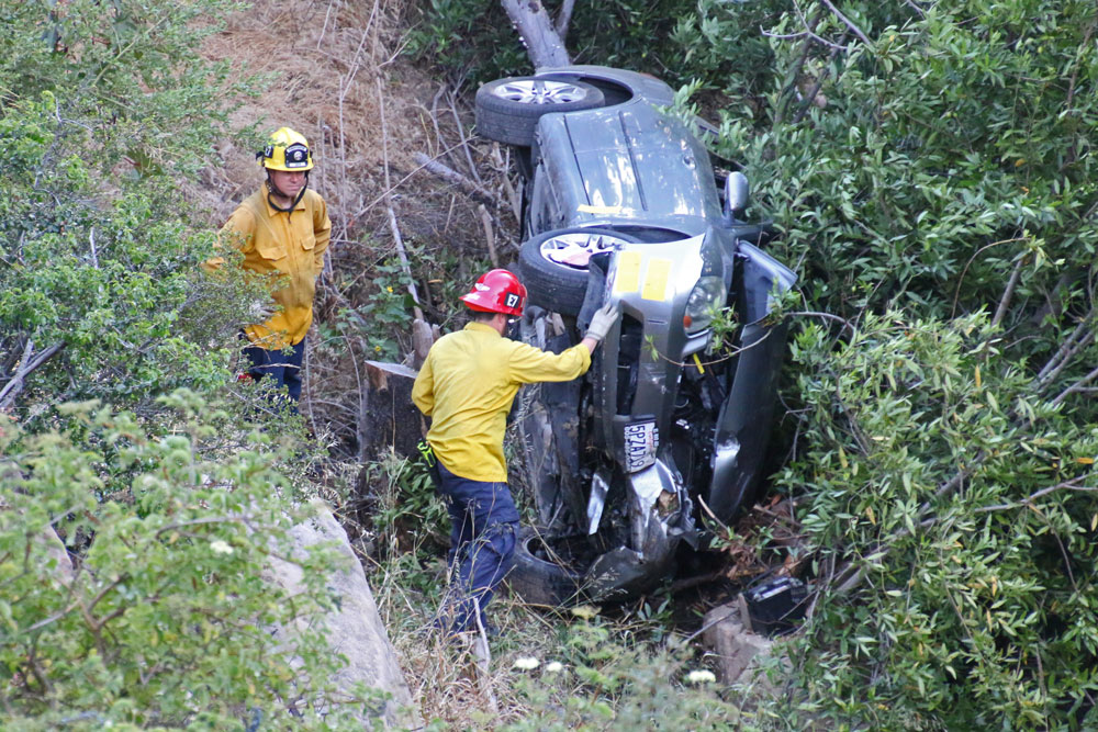 Two people suffered moderate injuries Thursday night when their vehicle crashed over the side of Gibraltar Road in the hills above Santa Barbara.