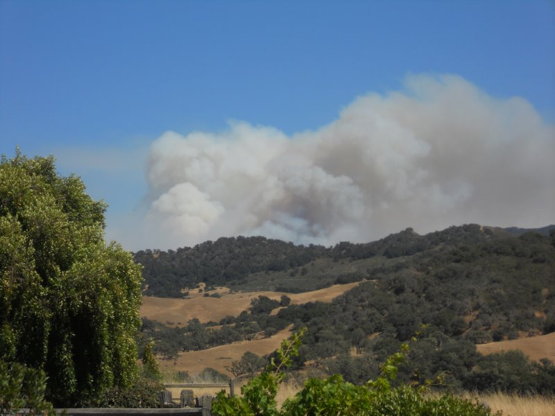 The Sherpa Fire could be seen from Solvang on Thursday.