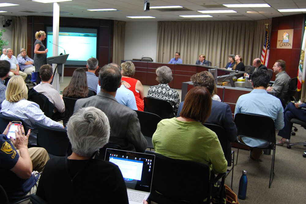 The State Lands Commission held a town hall meeting last week at Goleta City Hall to provide an update on the decommissioning of Venoco Inc.'s Platform Holly and other facilities along the coast. More than 60 community members attended.