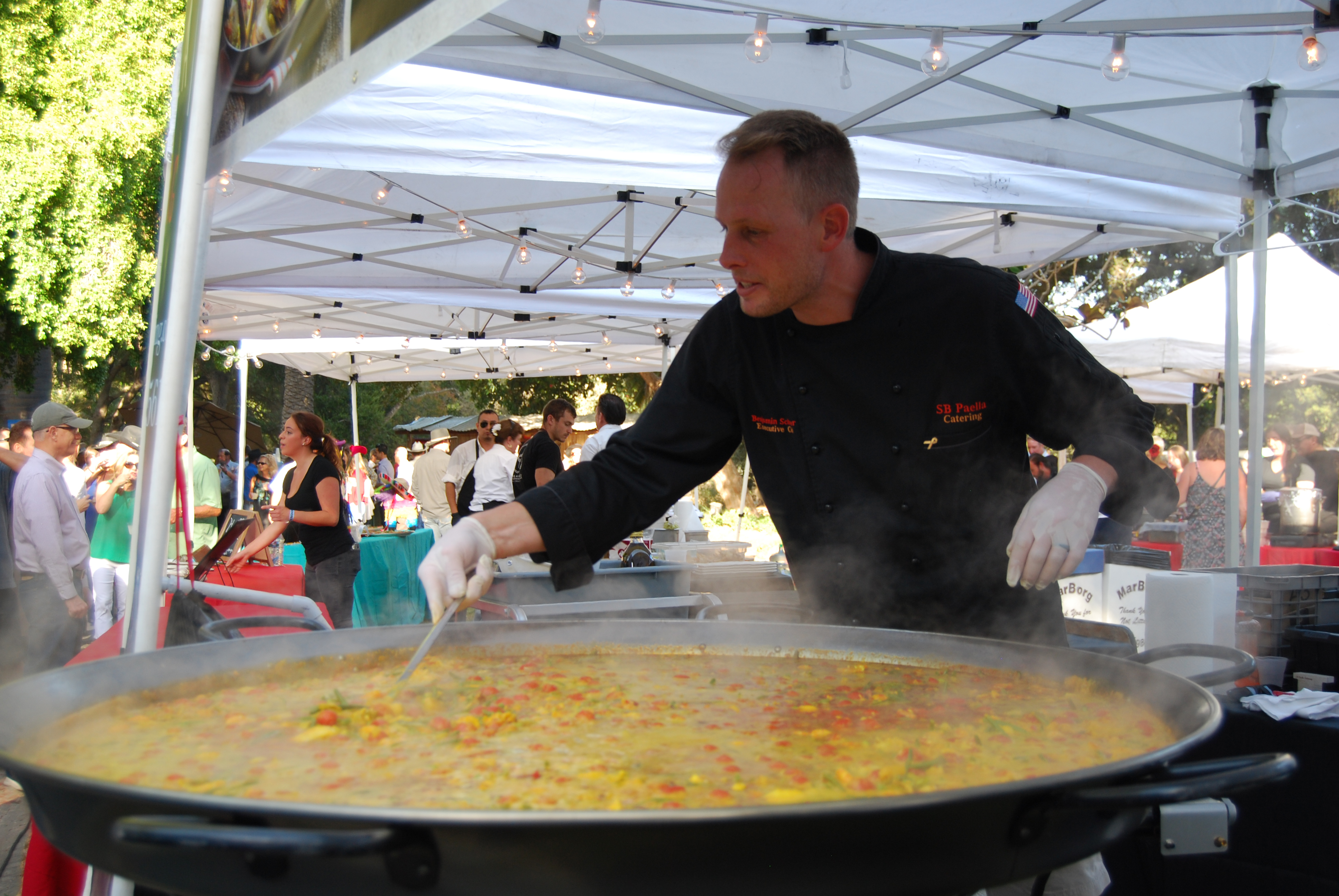 Santa Barbara Paella Catering and its custom paella pan were a popular attraction at Fiesta Ranchera.
