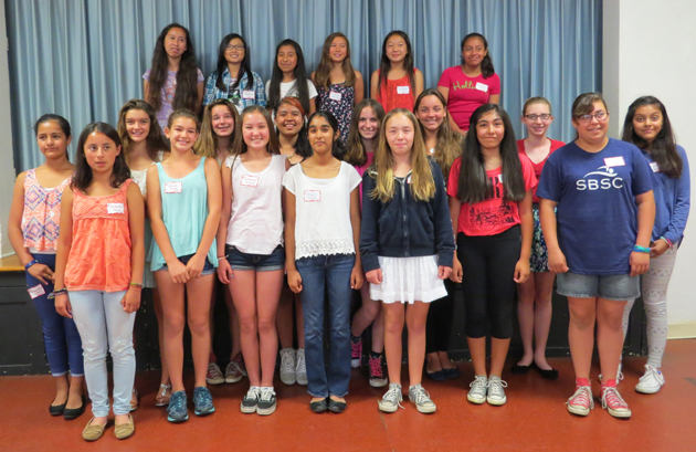 <p>Seventh-grade girls selected to attend this summer&#8217;s Tech Trek science camp at UCSB include, top row from left, Gabriella Manzo, Sarah Jacobs, Catherine McQueen, Anjali Thakrar, Kiersten Maxwell, Amara Jaimes and Amanda Rocha; middle row from left, Alejandra Cardona, Bailey Steelman, Nina Huffman, Jessica Salgado Delgado, Bianca Campagnari, Madison Wittman-Johnson, Liana Mueller and Alysa Castillo; back row from left, Allegra Tovar, Audrey Song, Alicia Piña Duarte, Emmi Wyttenbach, Michelle Qin and Emily Flores.</p>