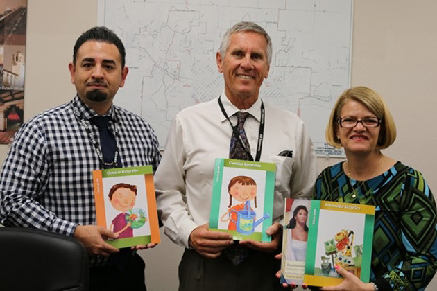 On Wednesday, Consul of Mexico Berenice Diaz Ceballos, right, met with Dr. Raul Ramirez, left, director of English Learner and Parent Engagement Programs for the Santa Barbara Unified School District, and Superintendent Dave Cash and presented them with a series of grade-level academic books in Spanish for each of the district's elementary schools. They also discussed opportunities for working together on future projects of mutual interest.