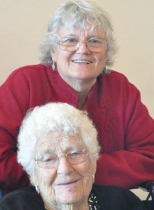 Barbara cares for her mother, Faye, who turned 100 this year and is a member of Friendship Center. (Friendship Center photo)