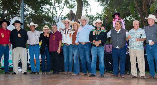 <p>Past El Presidentes gather for a group photo during Thursday night&#8217;s Fiesta Ranchera, Goleta's kickoff to the annual Old Spanish Days celebration.</p>
