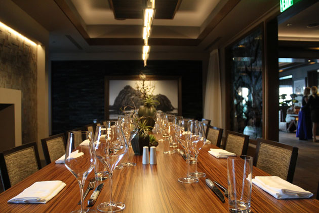 The tables are set at Angel Oak, the new fine-dining restaurant at the Bacara Resort and Spa in Goleta, which had its debut Thursday night.