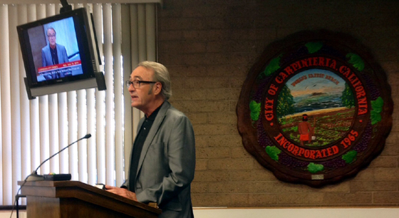 <p>Professor Joe White, founder of 2020 A Year Without War, thanks the Carpinteria City Council for their proclamation of support.</p>