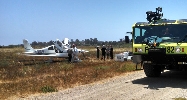 This flying lesson got off into the weeds, but the plane can be used again so it's all good. (Santa Barbara Fire Department photo)