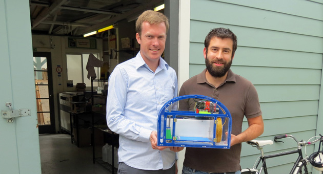 <p>Mission Street Manufacturing co-founders Brian Jaffe, left, and Gabe Rosenhouse hope to get 3D printers such as theirs — the Printeer — into elementary schools around the country.</p>