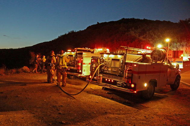 A small vegetation fire that broke out Tuesday night along Painted Cave Road above Highway 154 was quickly doused by firefighters.