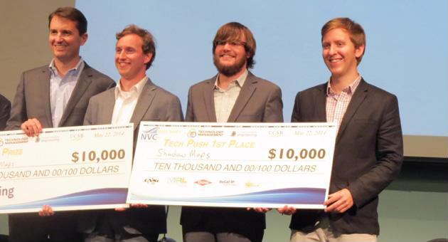 "<p>The ShadowMaps team took home the $10,000 grand prize, plus an additional $10,000 for coming in first place in the ""Tech Push"" category, at this year&#8217;s UCSB New Venture Competition, part of the university&#8217;s Technology Management Program. TMP&#8217;s new degree program will begin in the fall of 2015.</p>"